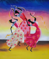 african american black art dancing women oil painting