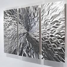 modern abstract metal wall sculpture art contemporary painting home decor silver large