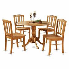 5pc Round Pedestal Drop Leaf Kitchen Table 4 Chairs Pedestal
