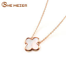 2019 she weier white clover necklace pendant clover stainless steel necklace for women collares rose gold chain jewelry jewelery from chuancai