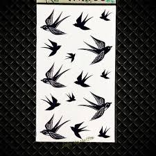 горячая летающая ласточка временные татуировки черными чернилами