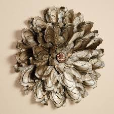 touch to zoom on large floral metal wall art with delicate flower blossom metal wall sculpture