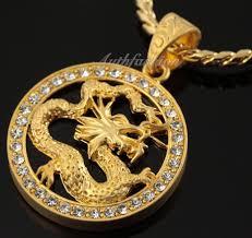 details about men 18k gold plated circular asian dragon pendant necklace zirconia hip hop 80