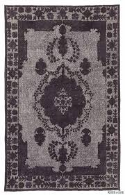 k0010649 black grey hand carved over dyed rug with overdyed rug