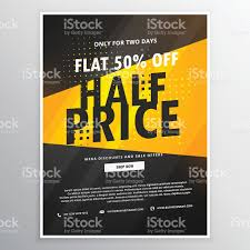 half price brochure flyer promotional template in yellow an 1 credit
