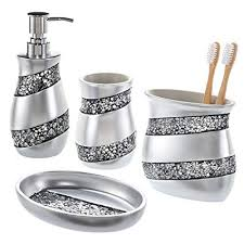 Bathroom accessories Copper Creative Scents Bathroom Accessories Set 4piece Silver Mosaic Glass Luxury Bathroom Gift Set Amazoncom Amazoncom Creative Scents Bathroom Accessories Set 4piece Silver