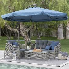 patio umbrella commercial metal navy blue  ft offset steel patio umbrella gazebo canopy with removable