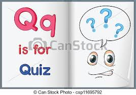 Quiz Illustration Of The Letter Q In A Book