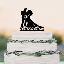 Wedding Cake Topper Silhouette Military Groom Bride Acrylic Cake