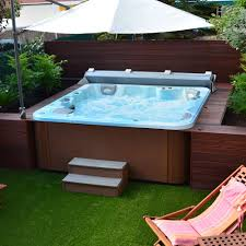 above ground pool with deck and hot tub. Above-ground Hot Tub / Square 5-person Above Ground Pool With Deck And T