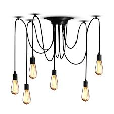 multiple pendant lighting fixtures. Amazon.com: Veesee 6 Arms Industrial Ceiling Spider Lamp Fixture, Home DIY E26 Edison Bulb Chandelier Lighting, Metal Hanging Pendant Lights, Multiple Lighting Fixtures A