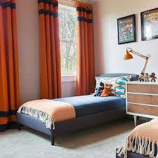 Alyssa Rosenheck: Blue And Orange Boys Bedroom With Orange Curtains With  Blue Stripes