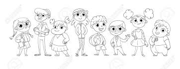 Vettoriale Carino Varietà Di Bambini In Fila Illustrazione