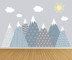 mountain wall decals sun and cloud