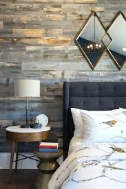 wood accent wall contemporary farmhouse bedroom with diy barn