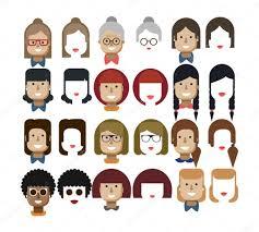 イラスト設定アバター女性の顔デザイン要素髪型メガネ ストック