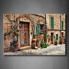 streets of old terranean town flower door windows wall art painting picture print canvas architecture picture for home decor in painting calligraphy