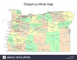 oregon state political map stock photo royalty free image