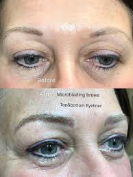 microbladed over faded tattoo brows and touched up on faded tattoo liner top bottom