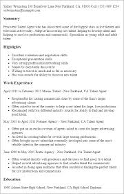 Resume Templates: Talent Agent