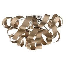 Copper Ribbon Light Rawley 5 Light Ribbon Flush Ceiling Light In Brushed Copper Raw0564