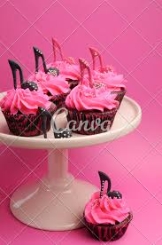 High Heel Shoes Decorated Pink And Black Cupcakes Vertical