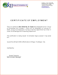 Examples Of Executive Resumes Certificate Of Employment Sample For