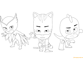 Owlette Catboy And Gecko From Pj Masks Coloring Page Free Gecko