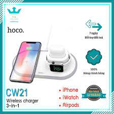 Đế Sạc Nhanh 3 In 1 HOCO CW21 Chính Hãng Sạc Không Dây IPhone/ Apple Watch/  Airpod - Đế sạc đứng