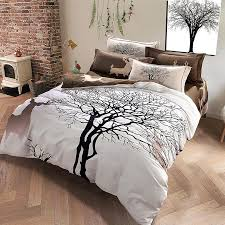 plaid geometric flower bird deer print bedding set queen king size duvet covers soft 100 cotton sanding winter bedroom sets in bedding sets from home