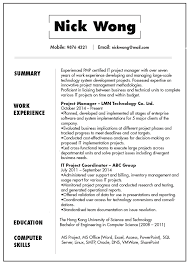 Example Of Computer Skills On Resumes Resume Cv Sample For It Project Manager Jobsdb Hong Kong