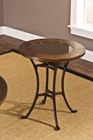 hilale montclair round end table wood border with mirrored glass top metal copper
