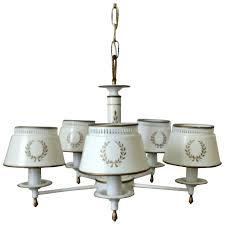 white tole chandelier light fixture toleware tole ware vintage 5 light