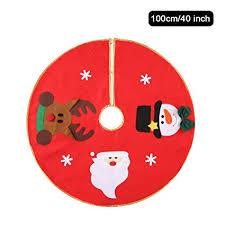 Christmas Tree Skirt - Red Non-Woven Santa Calus ... - Amazon.com