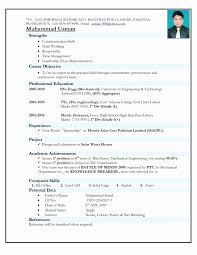 Sample Resume Format For Experienced Mechanical Engineer Refrence