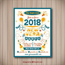 new year s party poster in a frame free vector