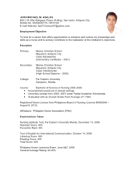 Example Of Resume Form In Applying Job High School Job Resume Example