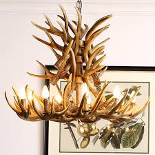 faux antler chandelier antler lighting country nordic style two tier with 9 lights dining room