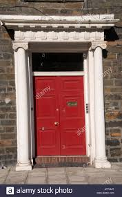 painted double front door. Red Painted Wooden Double Front Door With Columns And Portico On A Regency Era Town House Aberystwyth Wales