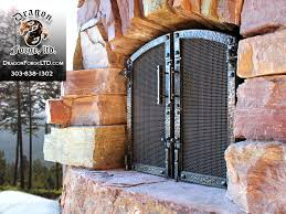 whitefish montana forged exterior bronze and steel fireplace doors zoom in