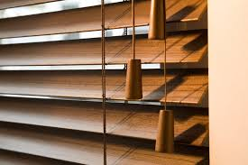 stained wooden venetian blinds