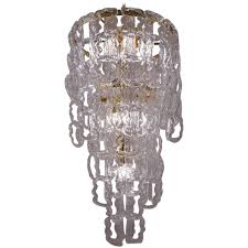 angelo mangiarotti style chandelier murano glass chain link gilt frame italian for at 1stdibs