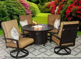 quincy cast aluminum outdoor patio 5pc set 50 inch round firetable series 4000 with sunbrella echo