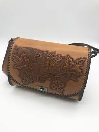 tooled boho leather bag