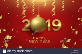 Happy New Year Card Gold 2019 Bauble Ornament Sign Luxury Number