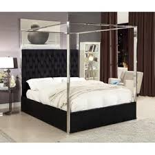 HS King Size Black Velvet Upholster Chrome Finish Canopy Bed Bedroom ...