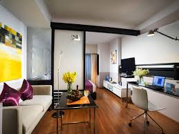 Apartment:Futuristic Small Studio Apartment Designs With Cream Leather Sofa  And Purple Couple Pillows Ideas