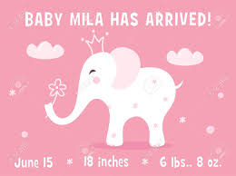 Template For Birth Announcement Elephant And Clouds Baby Girl Birth Announcement Card Template