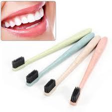 1pcs <b>Eco Friendly</b> Toothbrush Natural Wheat Straw Handle <b>Bamboo</b> ...