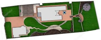 landscaping site development plan 3d render stock photo